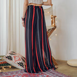 Women Fashion Chiffon Striped Wide-leg Pants