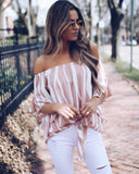 Loose Chiffon Off Shoulder Striped Blouse