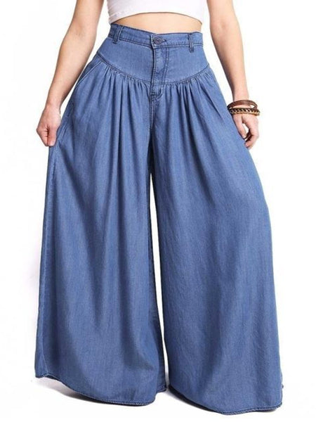 Women's solid color simple wide leg PANTS