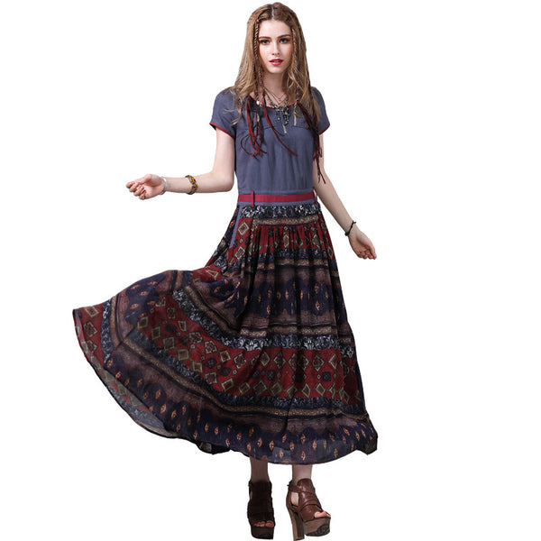 New cotton and linen swing skirt National wind print short sleeve JEAN DRESSES