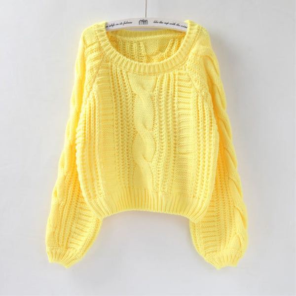Women Pullover O-neck Candy Color Short Sweater