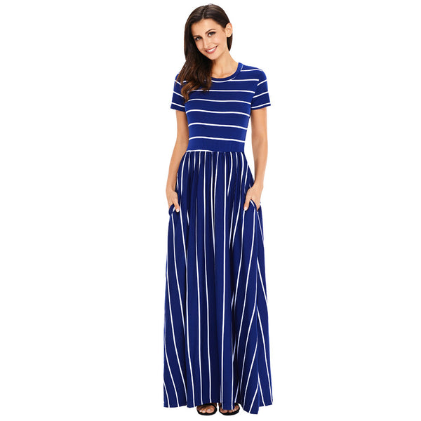 New round neck short sleeve striped knit bohemian dress