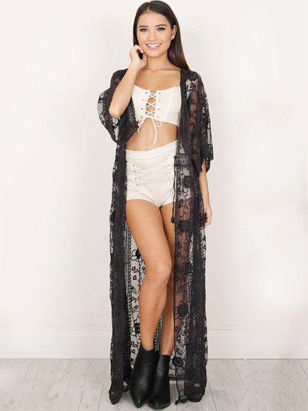Women New Style Lace Embroidered Drawstring Bikini Cover-Ups