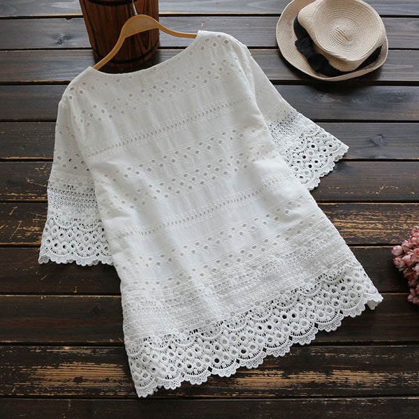 Crochet Lace Hollow Out Short Sleeve Embroidery Round Neck Cotton Blouse