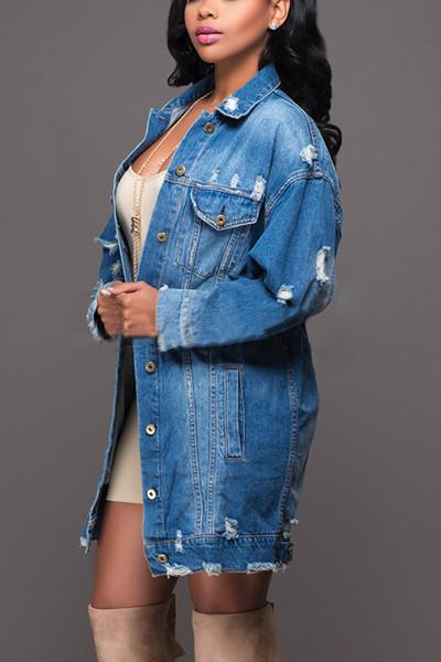 Women Hot Style Long Sleeves Casual Denim Jacket