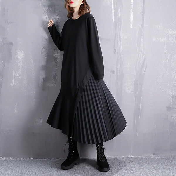 Summer Round Neck Long Sleeve Black Loose Side Pleated Split Joint Irregular Maxi Dress