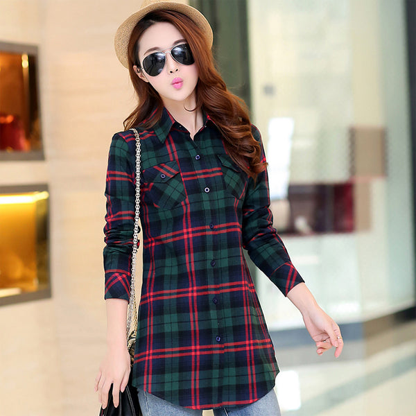 Women Grid Colorful Long Sleeve Shirt