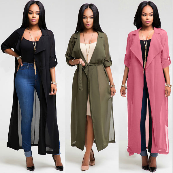 Women Sexy Long Sleeve Chiffon Solid Color Cardigan