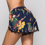 Beautiful sexy big flower print lace split shorts