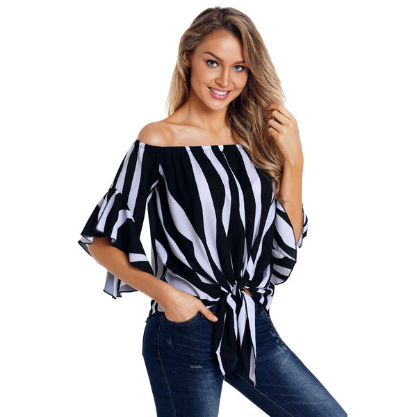 Women's summer tube top word collar shirt five points trumpet sleeve striped shirt