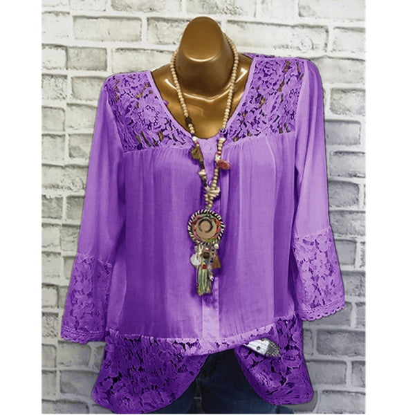 Women Summer New Stylish O-neck Solid  Long Sleeves Blouse
