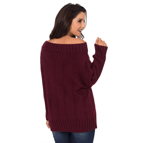 Women New Stylish Sexy Off Shoulder Pullover Sweater