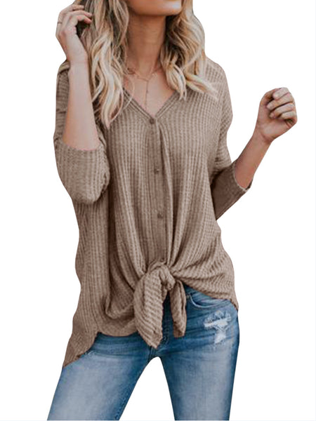 Women Long Sleeve Solid Color V-neck Knitting Shirts