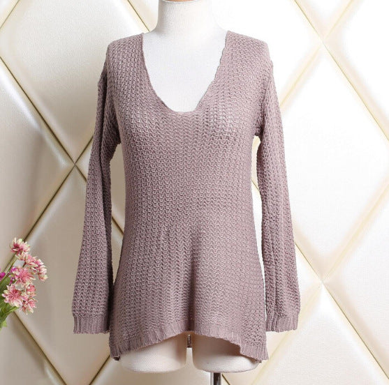 Women V-neck Knitted Loose Sexy Sweater