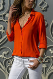 Women Summer Long Sleeves Deep V Button Chiffon Shirts