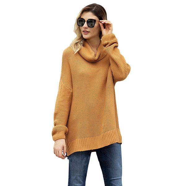 Solid High Collar Long Sleeve Pullover Knitted Sweater