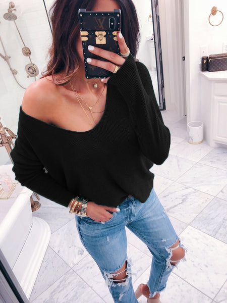 V-neck long-sleeved knit wool solid color loose  Sweaters