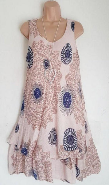 Printed Double Dress Dress Sleeveless Dress