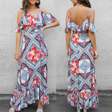 Women Summer Fashion Print Vintage Maxi Dress