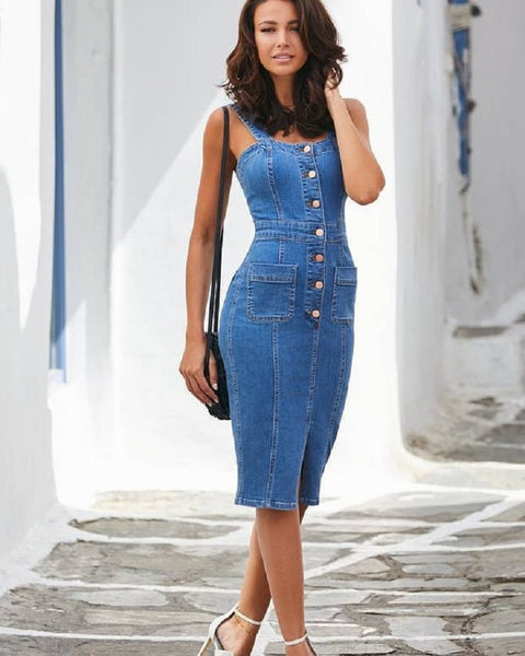 Women Spaghetti Strap Sleeveless Denim Mid-calf Jean Dress