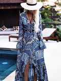 Female tethered beach print bohemian dress