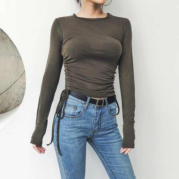 Women Fashion Lacing Up Bandaged Waist Round Collar Slim T-shirt