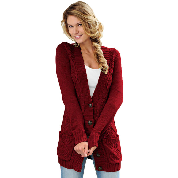 V-neck Solid Pocket Knitted Cardigan Long Sleeve Sweater
