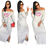 Lip print on both sides of the split Maxi dress