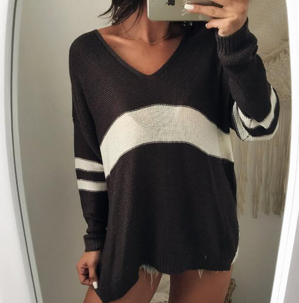 Women New V-neck Striped Casual Pullover Sweater
