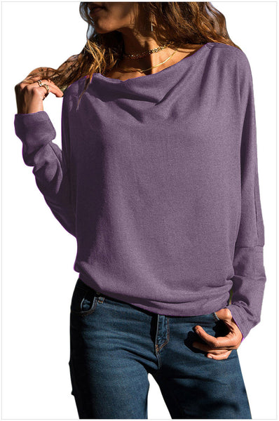 Women Casual Solid O-neck Slim Blouse