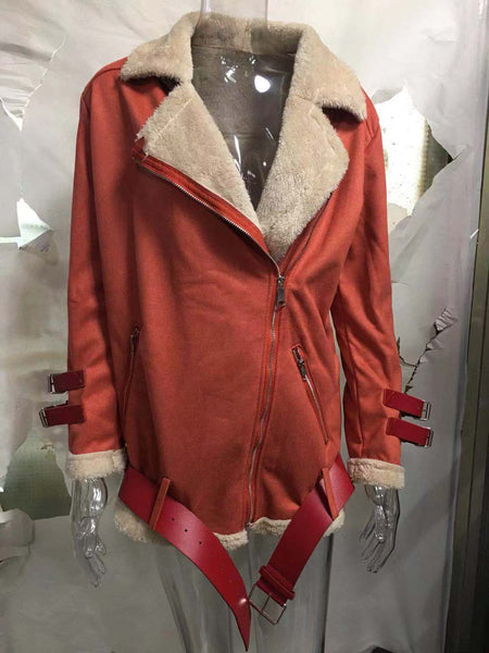 Women Long Sleeve Locomotive Buckskin Jacket