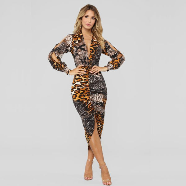 Women Deep v leopard dress