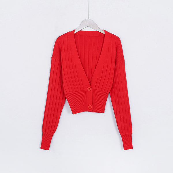 Women Loose Deep V-neck Knitted  Lantern Sleeve Sweater