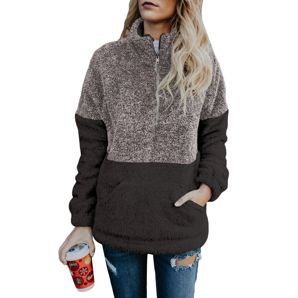 Women Long Sleeve Downy Pullover Zipper Contrast Color Sweatshirts