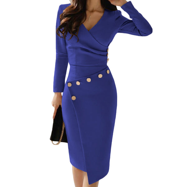 Women Sexy V-neck Asymmetrical Long Sleeve Bodycon Dress
