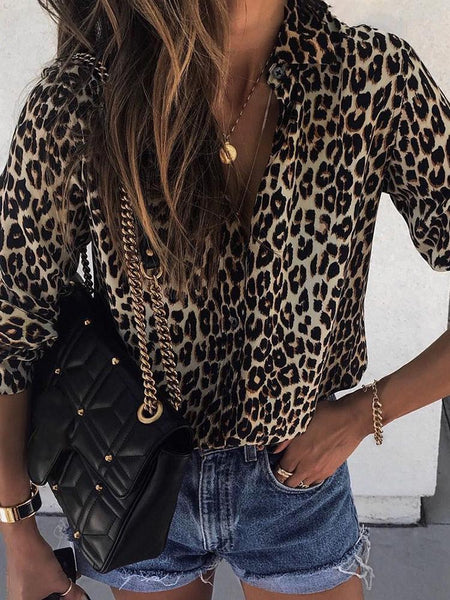Long sleeve leopard print button shirt