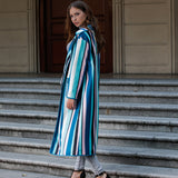 Colorful striped long sleeve wool coat
