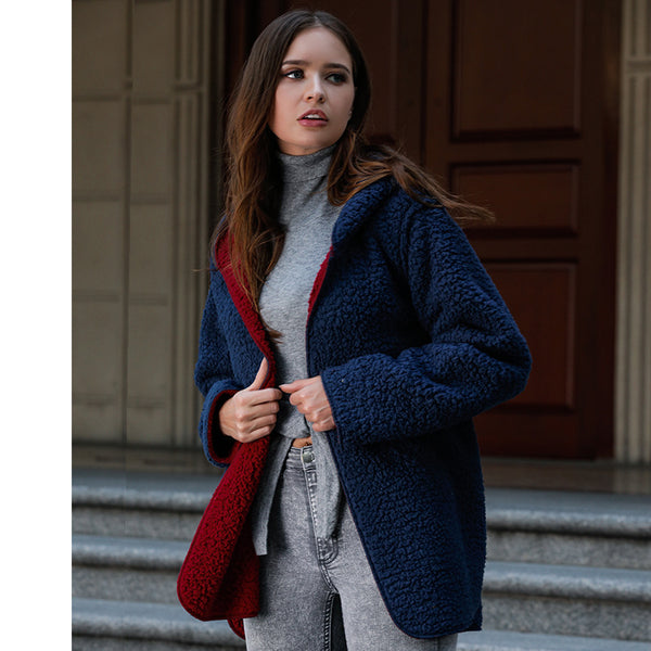Wool velvet hooded fleece Coat
