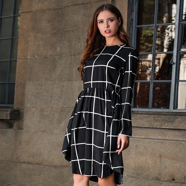 Simple large plaid printed long sleeve dress