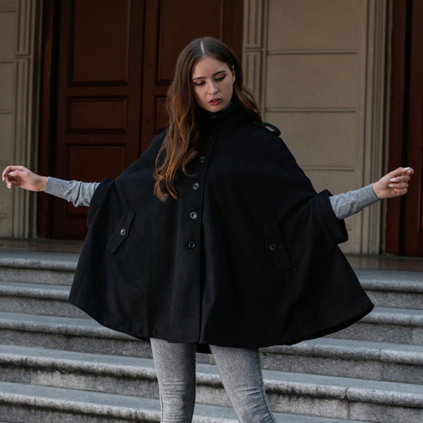 Women Button Casual Wool Cape Warm Coat