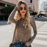 Women Fashion Round Neck Leopard T-Shirts