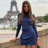 Women Solid Color Long Sleeve Bodycon Dresses