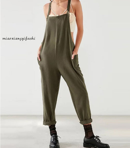 Women Casual Cotton Straps Jumpsuits