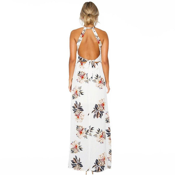 Women Beach Long Dress Backless Sexy Split Party Dresses Vestidos