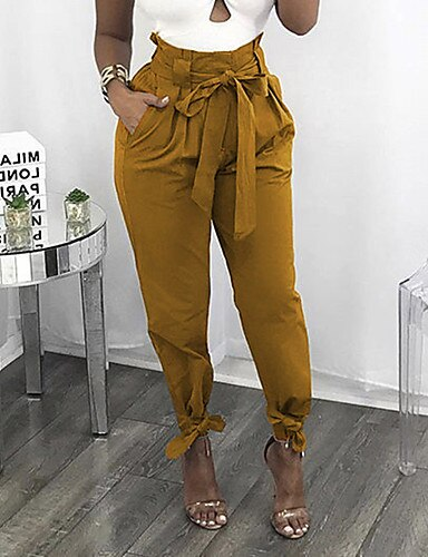 Women High Waist Cotton Ankle-Length Loose Pants