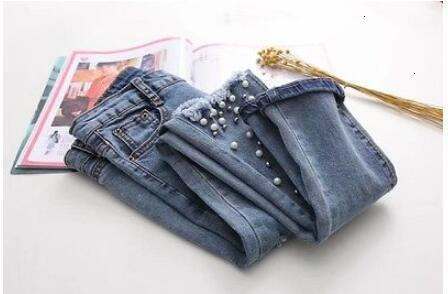 Women Destroyed Ripped Pearled Slim Denim Jeans Pants