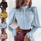 Stand Collar Buttons Puff Sleeve Lace Blouse Tops
