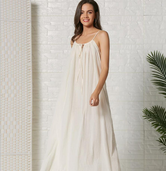 Cotton Spaghetti Strap Sleeveless Party Maxi Dress