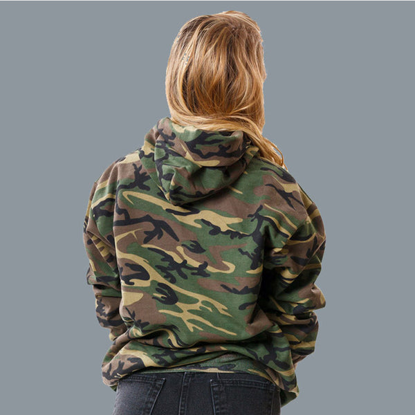 Women Camouflage Hooded Pullover Loose Casual Sweatshirt