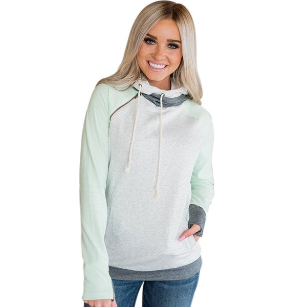 Zipper Kinitted Long Sleeve Pullover Sweatshirt